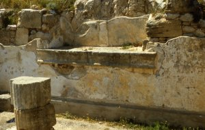 Soluntum: Hellenistic statue base in the stoa of the agora. (Photo: J. Prag 2002)