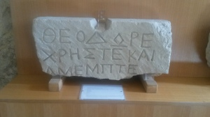 ISicily 3440, a late Hellenistic or early Imperial period funerary inscription from the S.Ippolito necropolis near Mineo. Mineo museo civico inv. no. 5201.